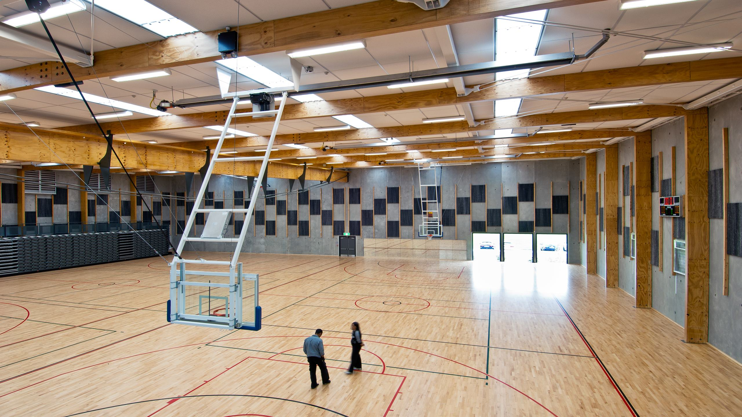 Nga Pura Pura Sports Complex showing over sized Triton Sports panels installed to the ceilings of the gymnasium