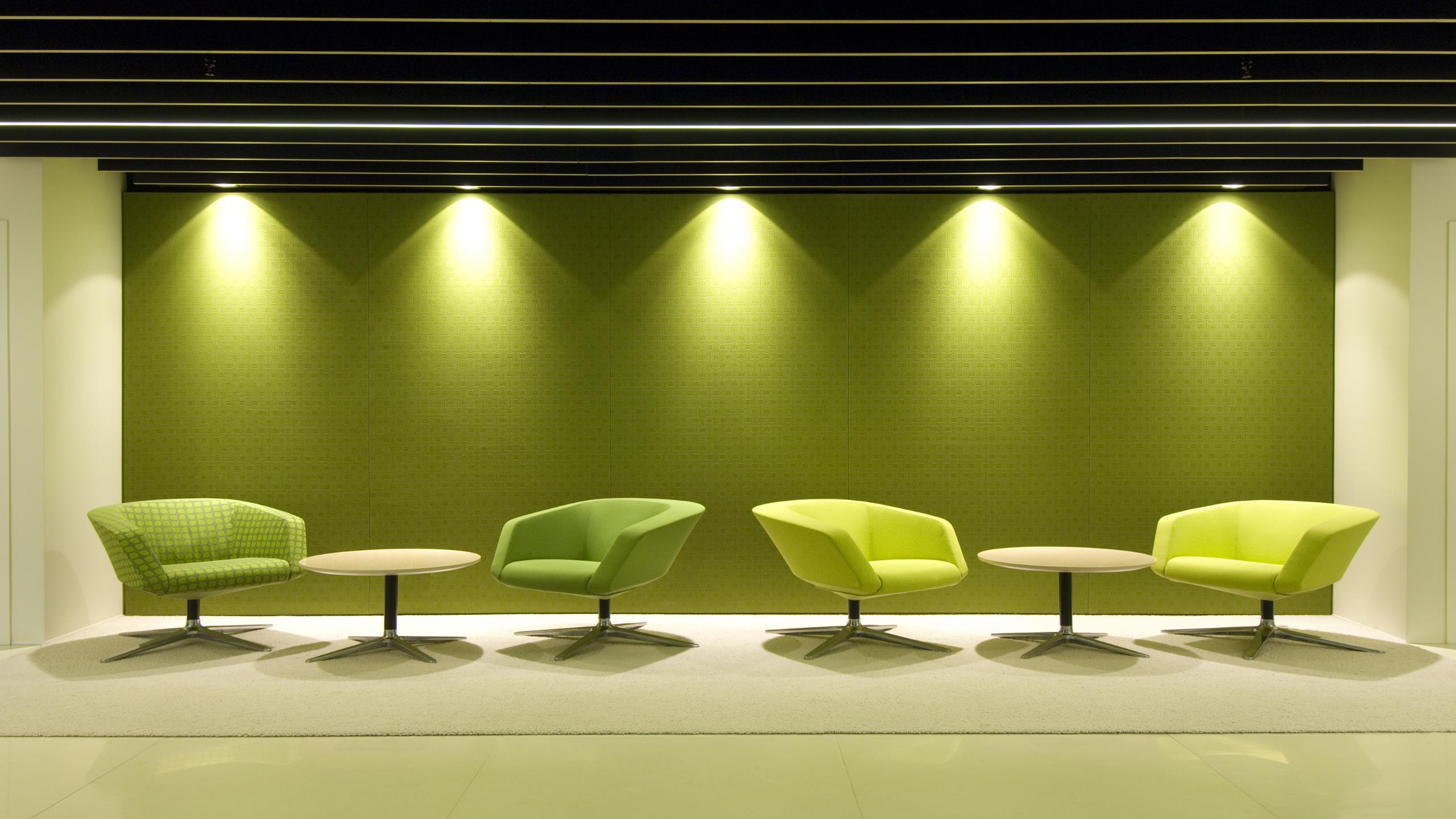 Beca AKLD reception area, showing the installed Snaptex wall in green textured fabric