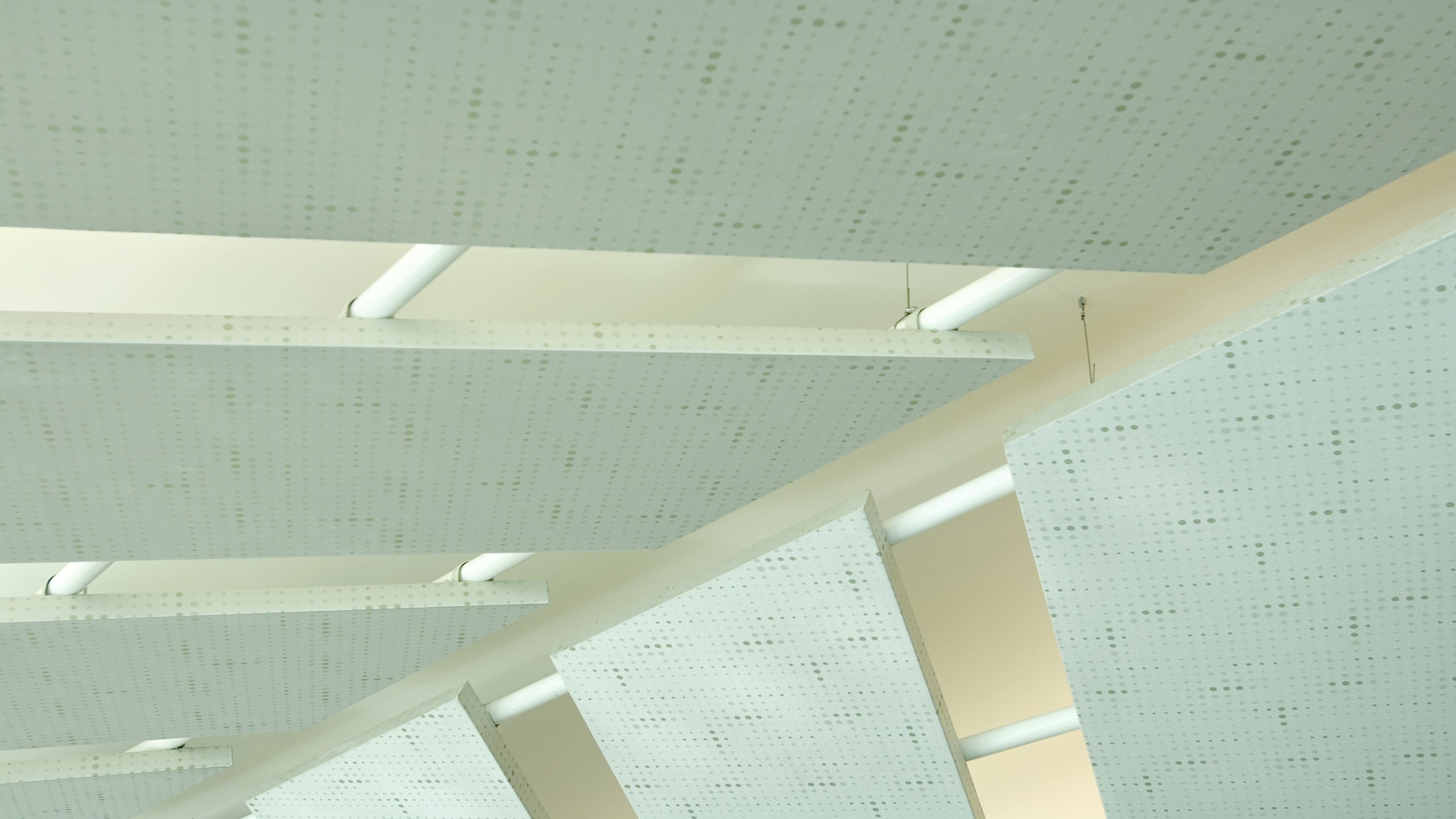 close-up of suspended fabric covered rhomboid cloud panels