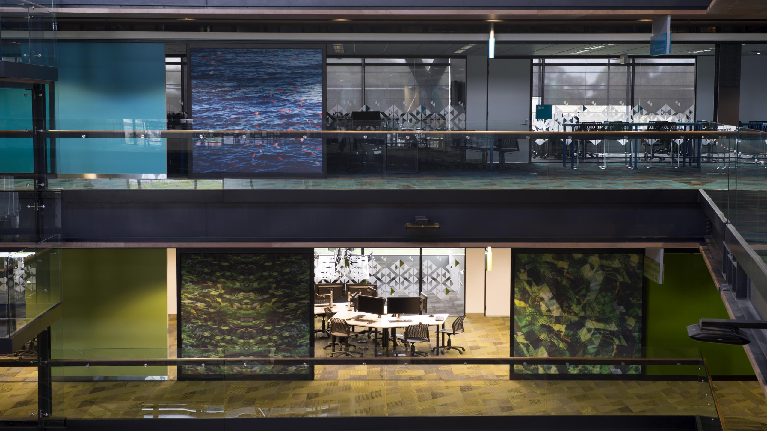 MIT Manukau showing installed Snaptex installed on large sliding doors in digitally printed fabric