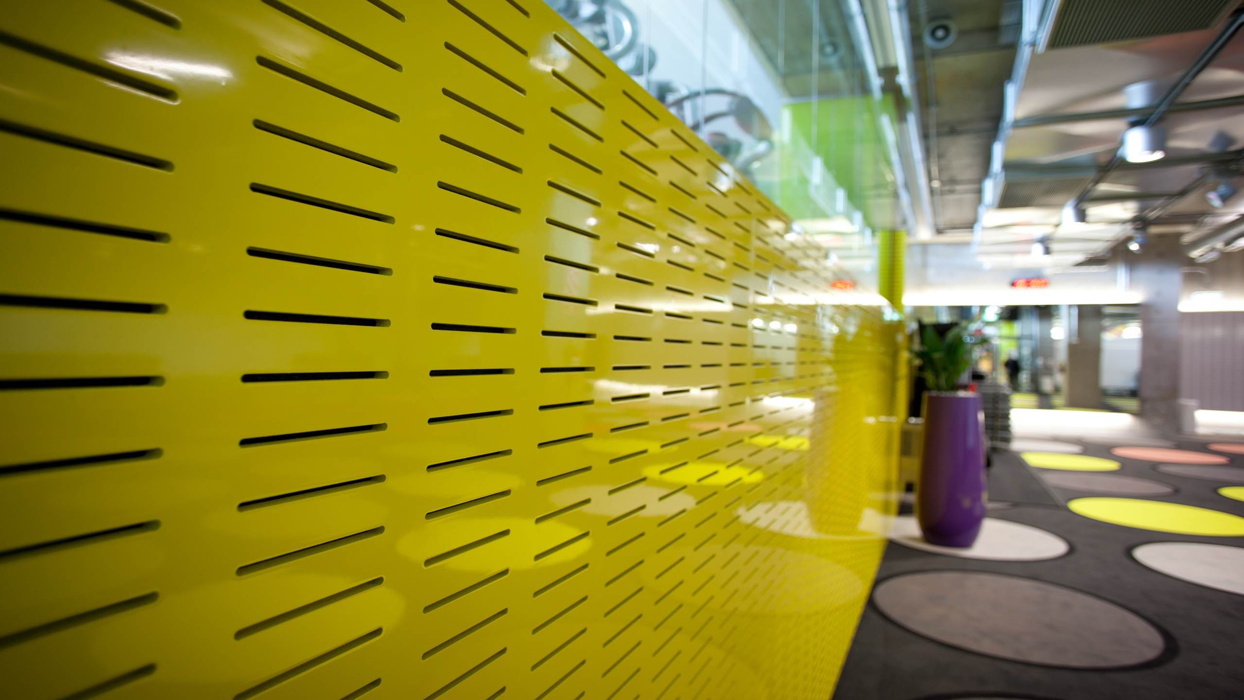 Les Mills Gym Britomart showing Audi Slot in painted yellow with gloss lacquer finish