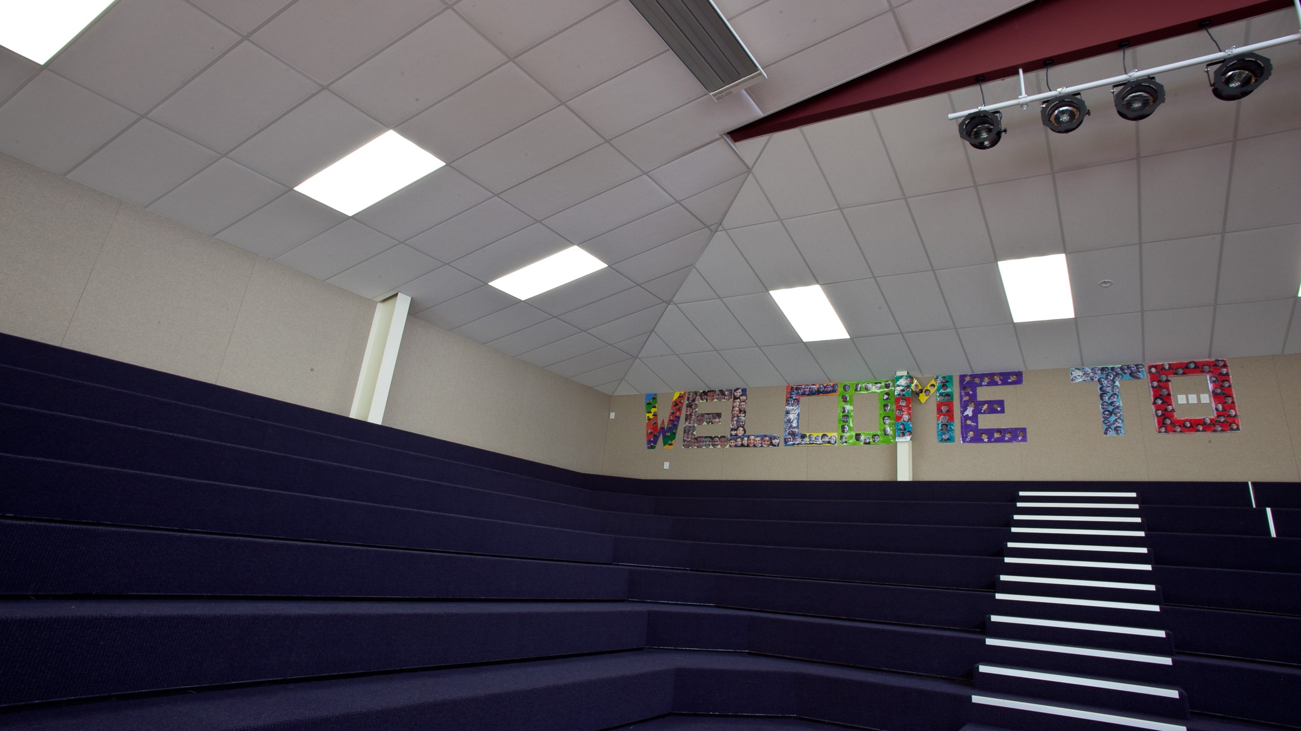 Sunnyvale School showing  a detail section of Diffusion installed into the auditorium