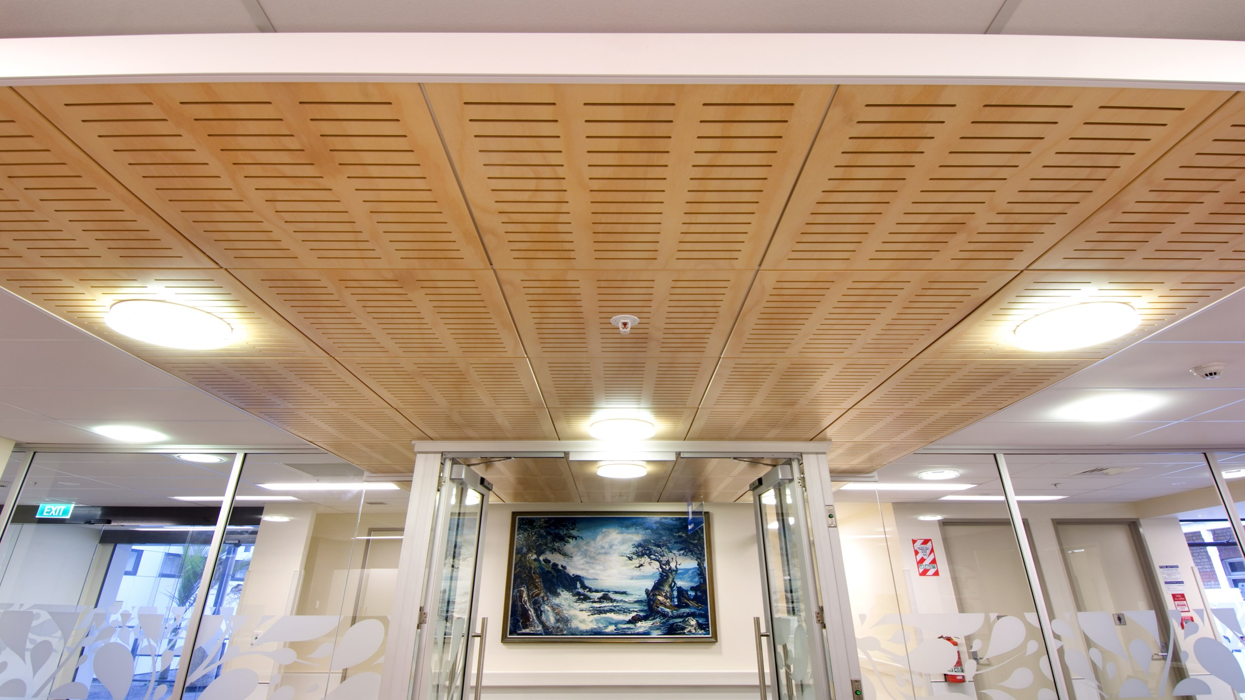 Greenlane Eye Clinic - Asona Tile in Hoop Pine veneer